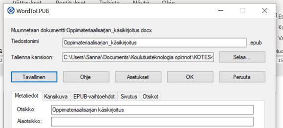 Muita lisäasetuksia kuten metatiedot WordTo EPUB ohjelmassa.
