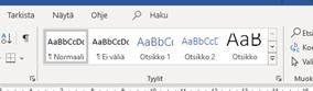 Otsikkotyylien valinta Word-tekstinkäsittelyohjelman valintanauhassa.