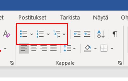 Luettelomerkkien valintapainikkeet Word-tekstinkäsittelyohjelmassa.