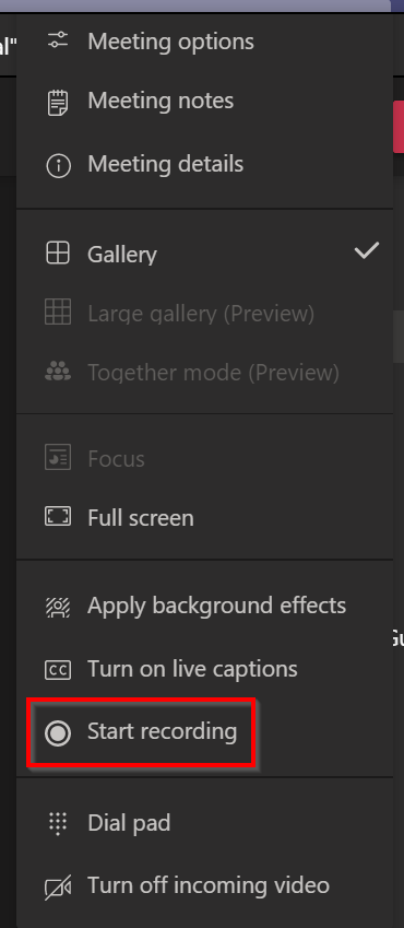 Start recording option can be found in More options -tab.