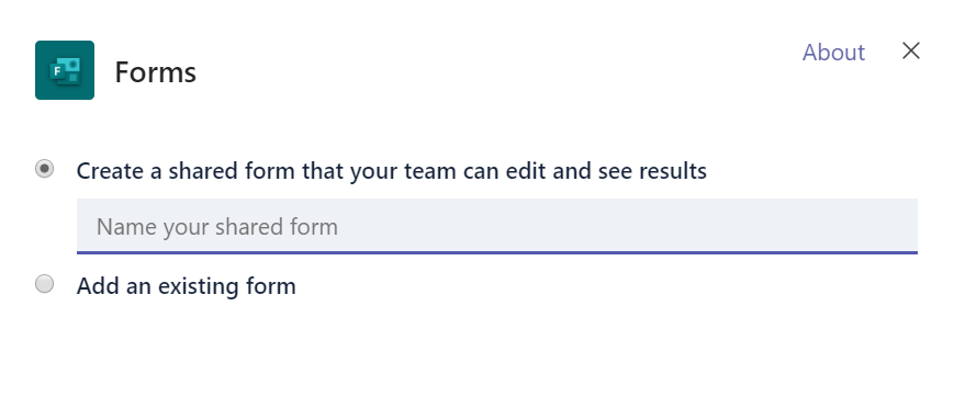 Options to choose a new Forms query or add existing one.