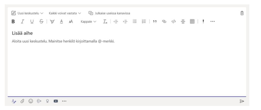 Message formatting window in Teams.