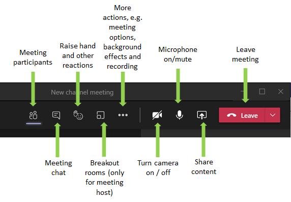 Meeting options bar in Teams.