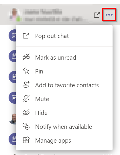 Options for conversations, e.g. pinning, adding to favorite or mute.