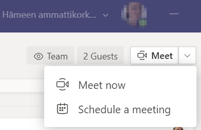 Two options for a Teams call: meet now or schedule a meeting.