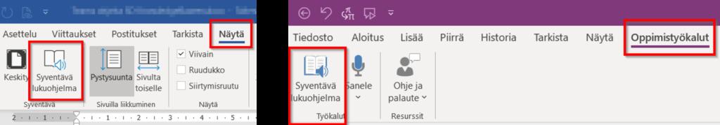Syventävän lukuohjelman kuvakkeet Wordissa ja OneNotessa.