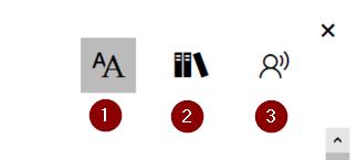 Syventävän lukuohjelman valikko OneNote -muistikirjassa sisältää kolme vaihtoehtoa: tekstin asettelut, tekstin tavutus ja sanaluokat sekä lue ääneen toiminnin asetukset.
