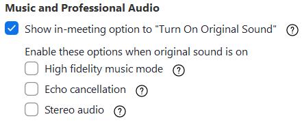 zoom hifi audio settings