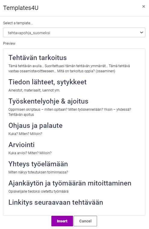 Templates - tehtäväpohja suomeksi