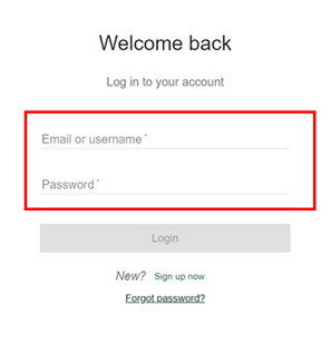 Kirjautumisikkunassa kysytään käyttäjätunnus ja salasana.