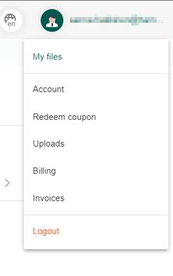 Profiilikuvan takaa avautuva valikko, jossa vaihtoehdot Account, Redeem coupon, Uploads, Billing, Invoices ja Logout.