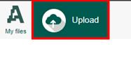 My Files ja Upload painike vierekkäin sivun vasemmassa yläkulmassa.