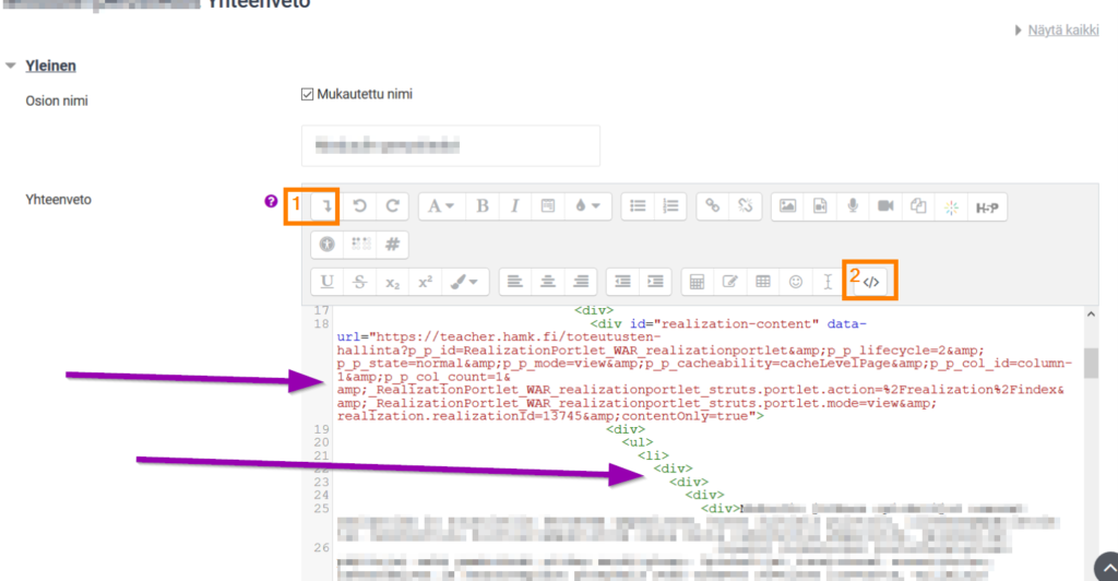 moodle html editori