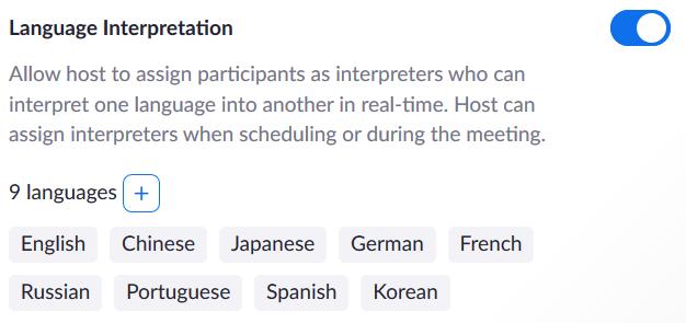 Zoom Language Interpretation