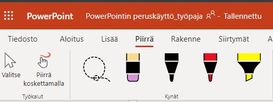 Piirrä-toiminnon välilehti, jossa toiminnot Valitse, Piirrä koskettamalla sekä alueen valinta-lasso, pyyhekumi sekä musta, punainen ja keltainen kynä.